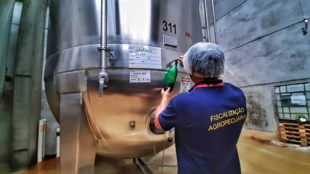 Fiscais estaduais agropecuários da SEAPDR durante inspeção na serra gaúcha